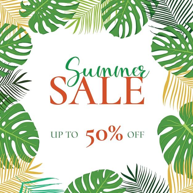 Banner di vendita estate con foglie Vettore Premium