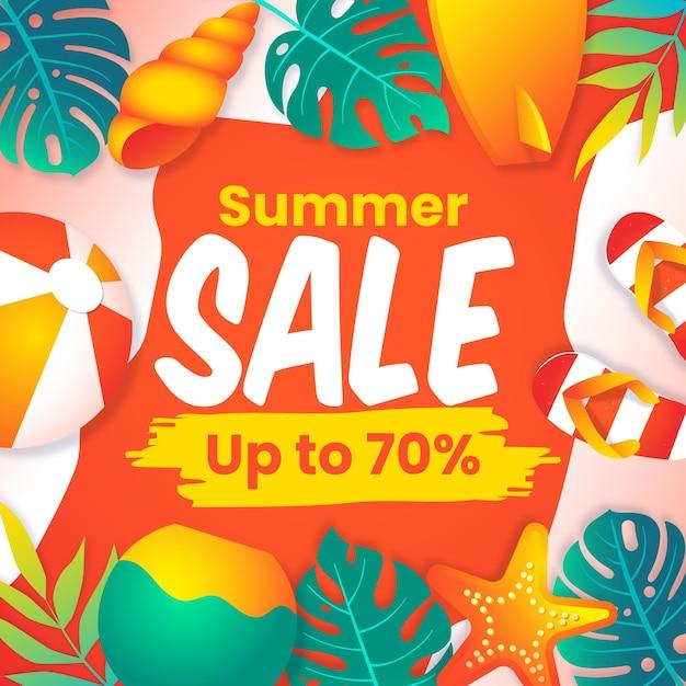 Banner di vendita estiva di fine stagione con spiaggia Vettore gratuito