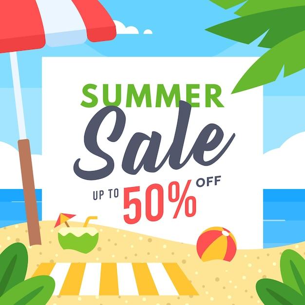Banner di vendita estiva per social media marketing Vettore Premium