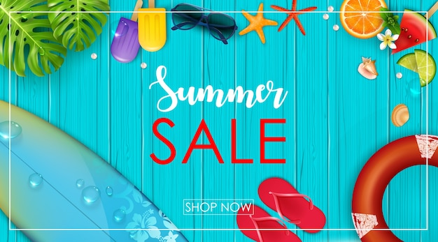 Banner di vendita estiva Vettore Premium