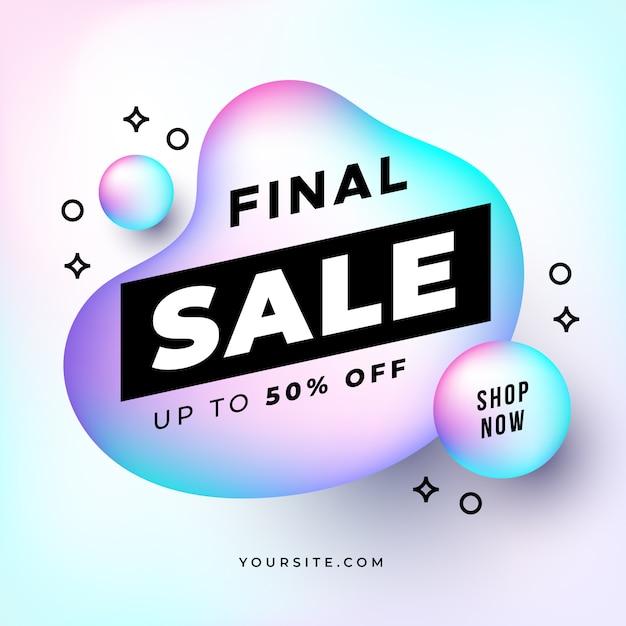 Banner di vendita finale con forme olografiche Vettore gratuito