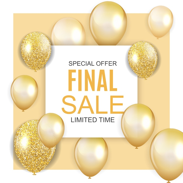 Banner di vendita finale con palloncini dorati Vettore Premium