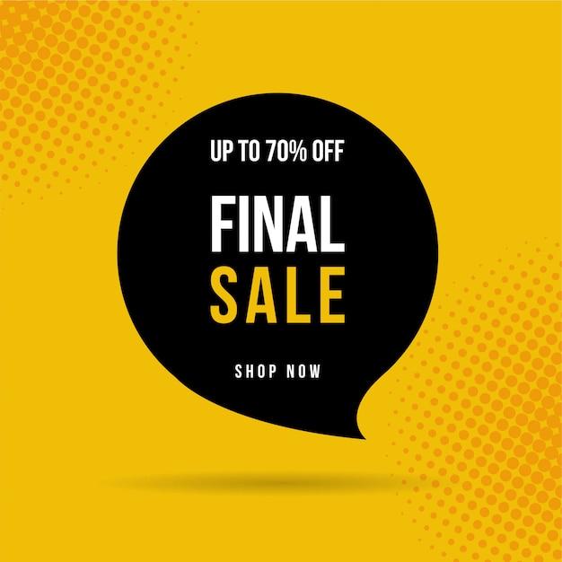 Banner di vendita finale, fino al 70% di sconto .. Vettore Premium