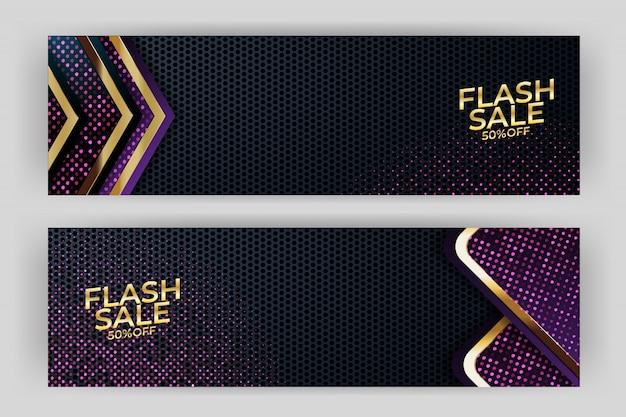 Banner di vendita flash con sfondo oro stile premium Vettore Premium