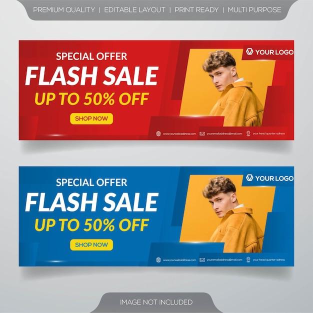 Banner di vendita flash Vettore Premium