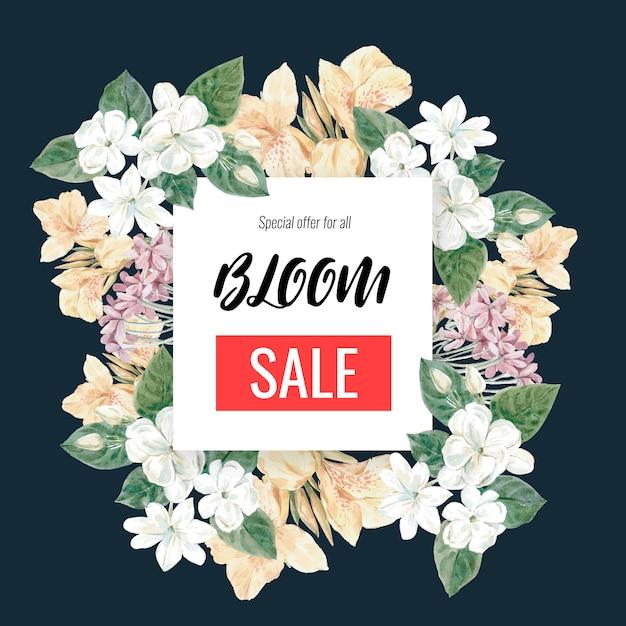 Banner di vendita floreale con cornice Vettore gratuito