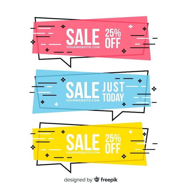 Banner di vendita geometrica Vettore gratuito