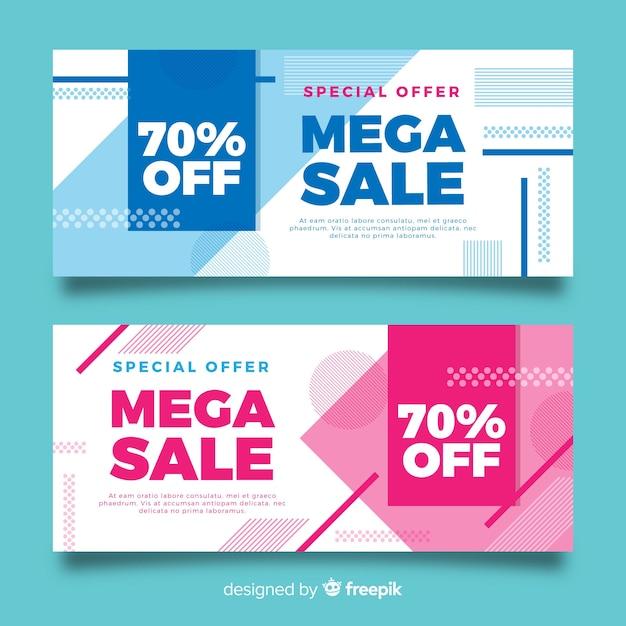 Banner di vendita geometrici Vettore gratuito