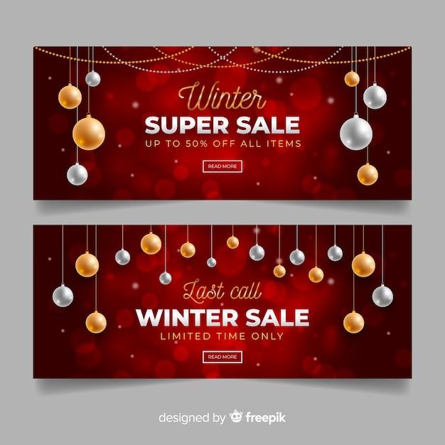 Banner di vendita invernale realistico Vettore gratuito