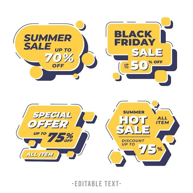 Banner di vendita moderna geometrica e collezione black friday Vettore Premium