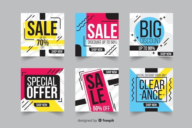 Banner di vendita moderni per i social media Vettore gratuito