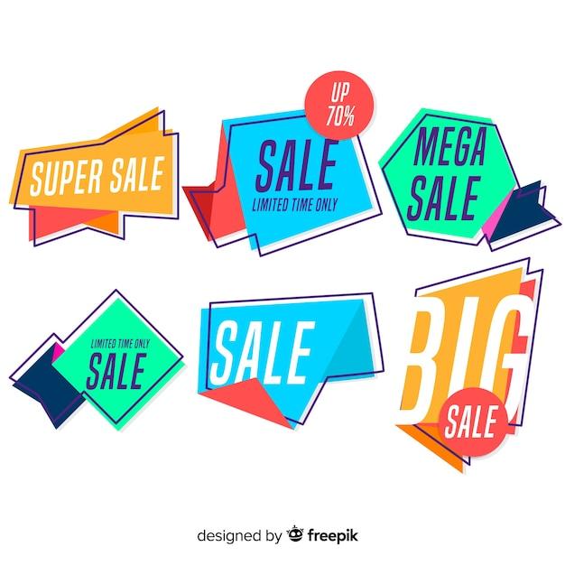 Banner di vendita origami astratti Vettore gratuito