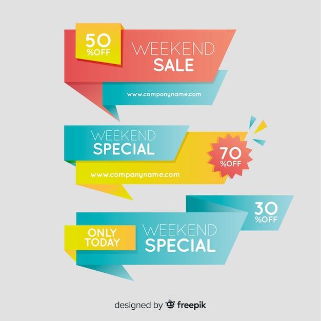 Banner di vendita origami colorati Vettore gratuito