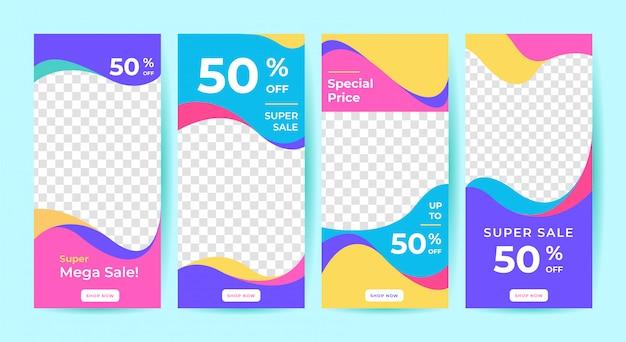 Banner di vendita per post sui social media Vettore Premium