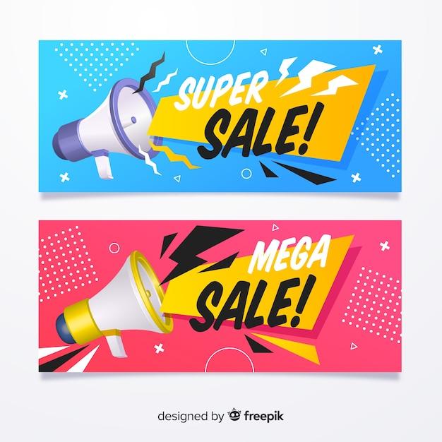 Banner di vendita piatta con oggetti realistici Vettore gratuito