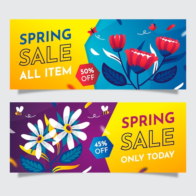 Banner di vendita piatto colorato primavera Vettore gratuito