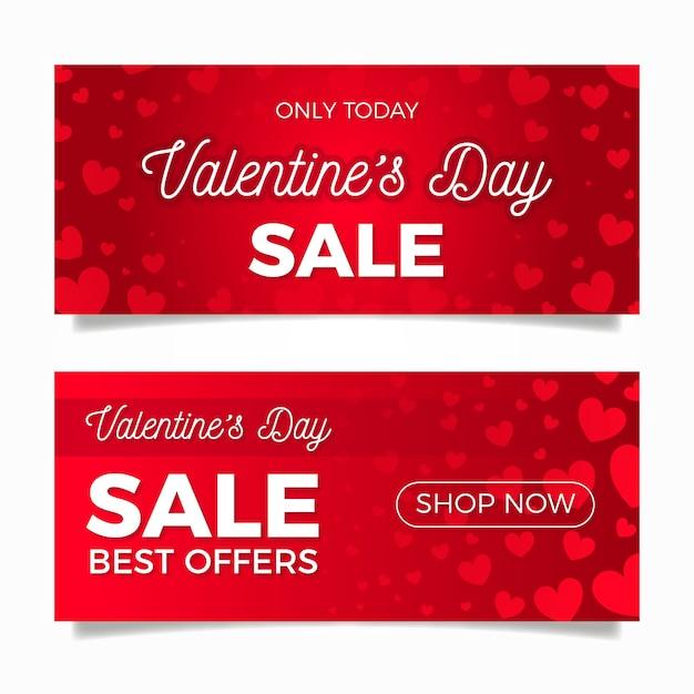 Banner di vendita piatto di san valentino Vettore gratuito