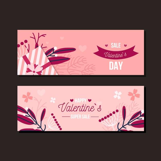 Banner di vendita piatto san valentino Vettore gratuito