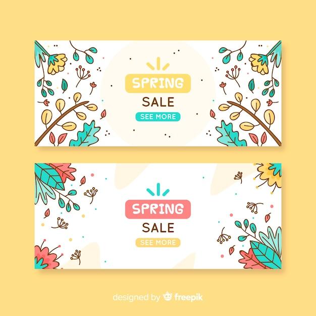 Banner di vendita primavera dei cartoni animati Vettore gratuito
