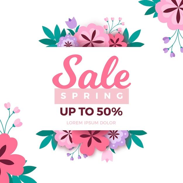 Banner di vendita primavera design piatto Vettore gratuito
