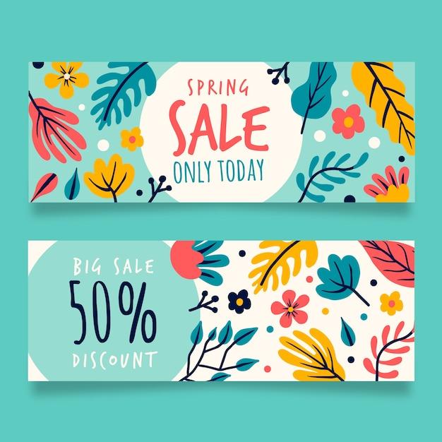 Banner di vendita primavera disegnati a mano Vettore gratuito