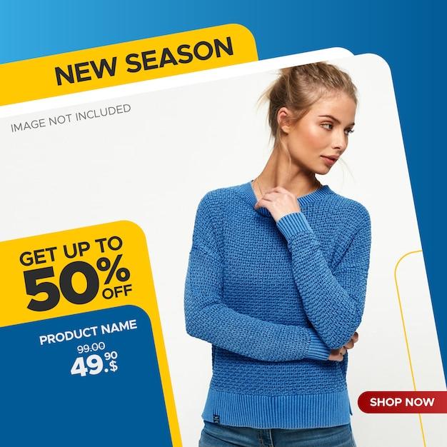 Banner di vendita quadrato per post web e social media Vettore Premium