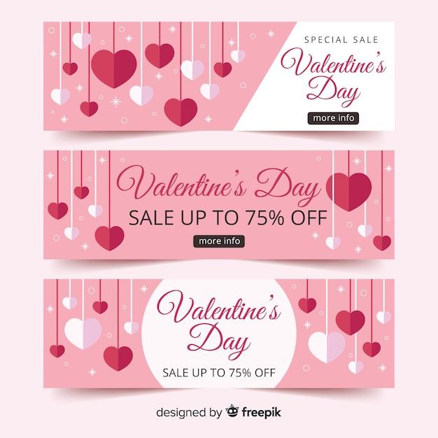 Banner di vendita san valentino cuori appesi Vettore gratuito