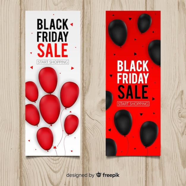 Banner di vendita venerdì nero con palloncini Vettore gratuito
