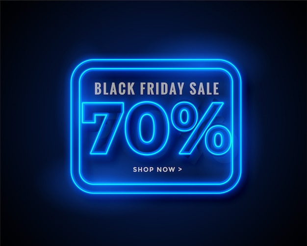 Banner di vendita venerdì nero in luci al neon blu incandescente Vettore gratuito
