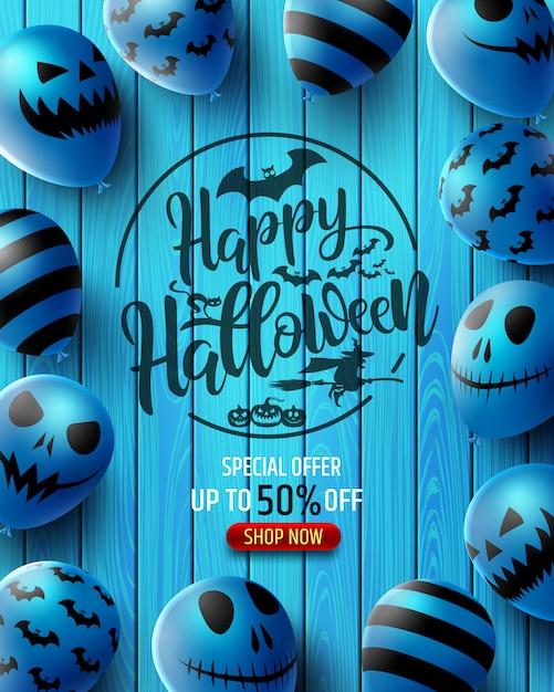Banner di vendita verticale di halloween con palloncini spaventosi Vettore Premium