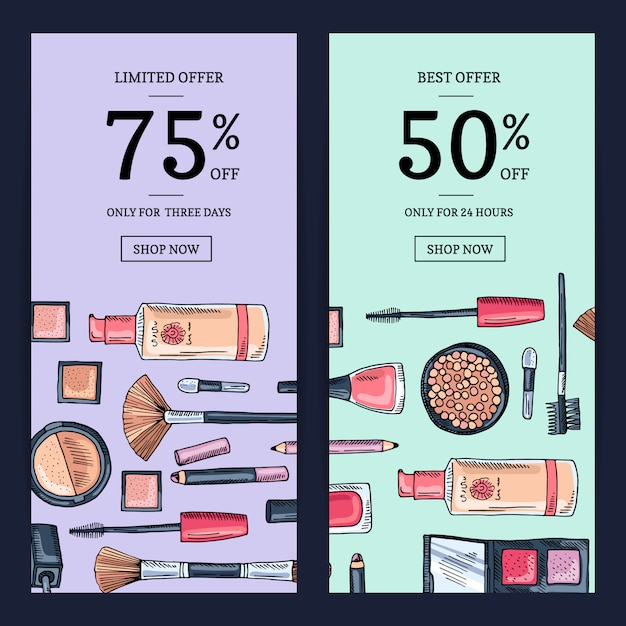 Banner di vendita vettoriale per salone di bellezza Vettore Premium