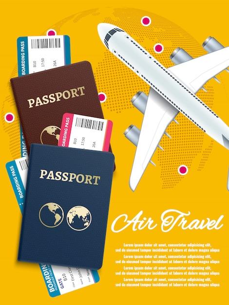 Banner di viaggio aereo con biglietti aerei globo mondo Vettore Premium
