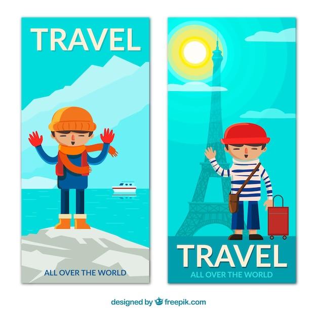 Banner di viaggio carino Vettore gratuito