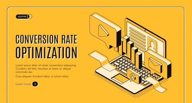 Banner di web di vettore isometrico di ottimizzazione del tasso di conversione Vettore gratuito