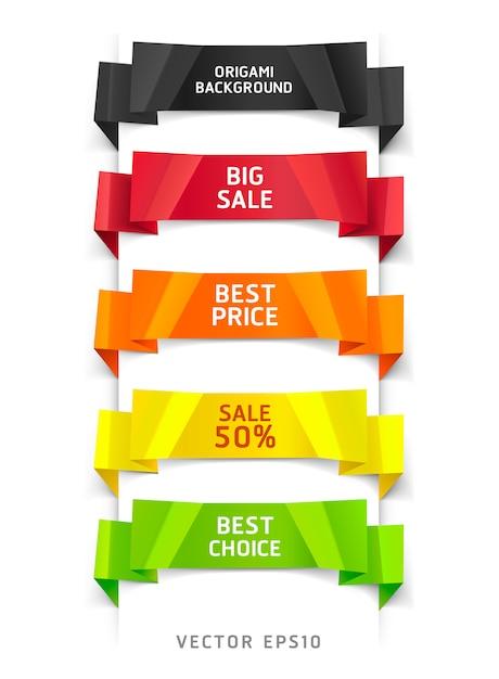 Banner e carta di opzioni di stile origami colorati. Vettore Premium