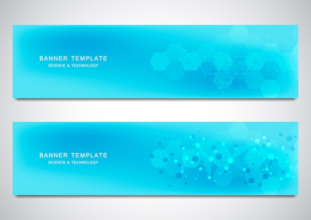 Banner e intestazioni per sito con sfondo di molecole e rete neurale. Vettore Premium