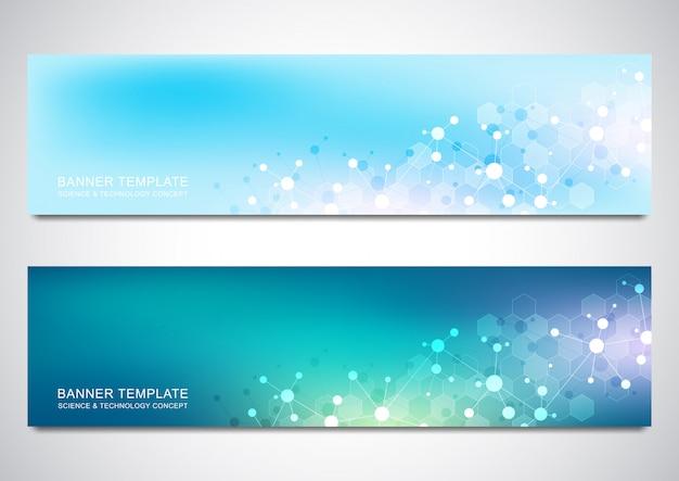 Banner e intestazioni per sito con sfondo di molecole e rete neurale Vettore Premium