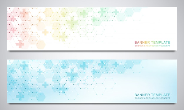 Banner e intestazioni per sito con sfondo medico ed esagoni. geometrico astratto. Vettore Premium