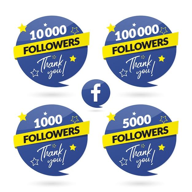 Banner e logo di celebrazione di follower di facebook Vettore Premium