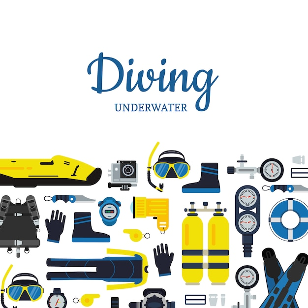 Banner e poster attrezzature subacquee subacquee in stile piatto Vettore Premium