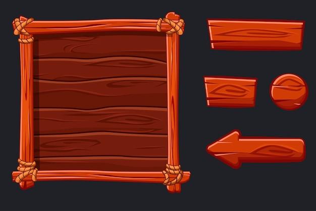 Banner e pulsanti in legno. impostare risorse di legno rosso, interfaccia e pulsanti per il gioco dell'interfaccia utente Vettore Premium
