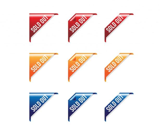 Banner esaurito nastro rosso esaurito Vettore Premium