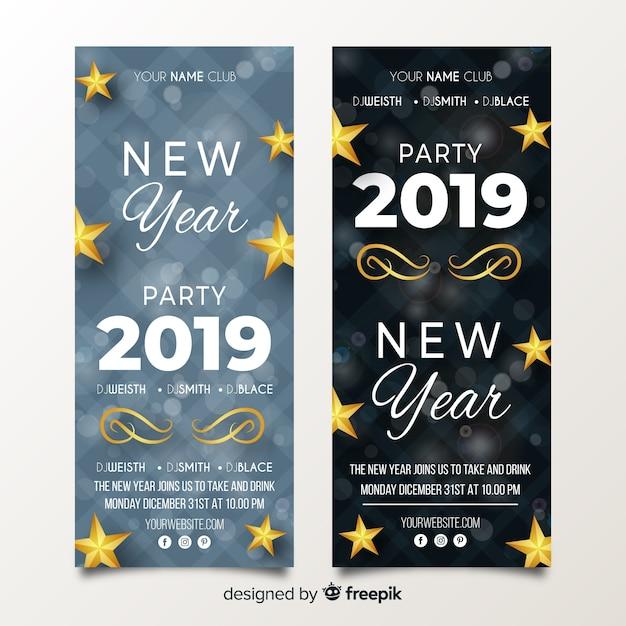 Banner festa del nuovo anno 2019 realistici Vettore gratuito