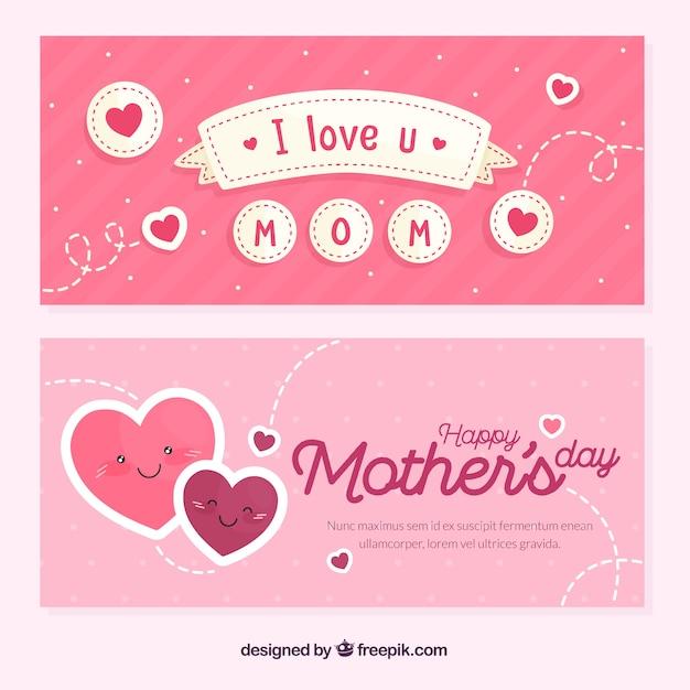 Banner festa della mamma in stile piatto Vettore gratuito