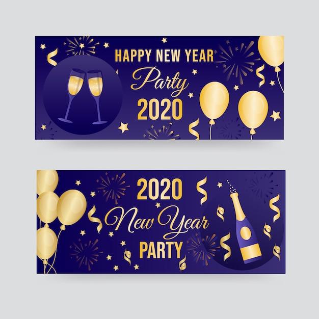 Banner festa di capodanno 2020 in design piatto Vettore gratuito