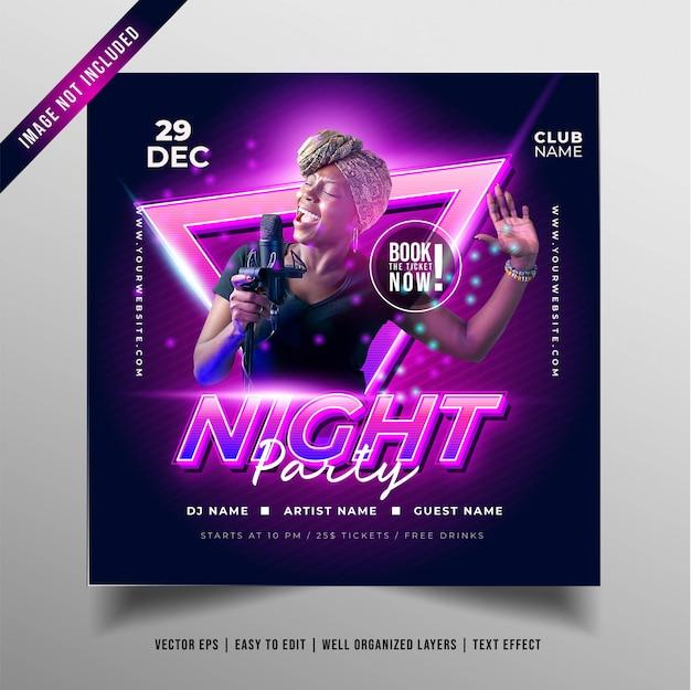 Banner festa di musica notturna Vettore gratuito