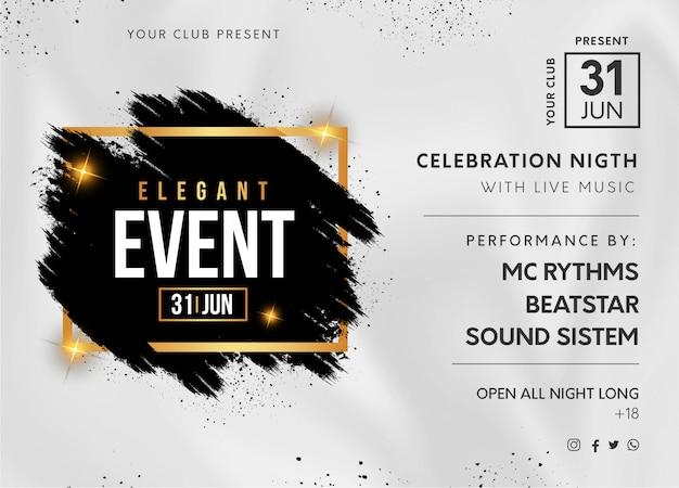 Banner festa elegante evento con spruzzata nera Vettore gratuito