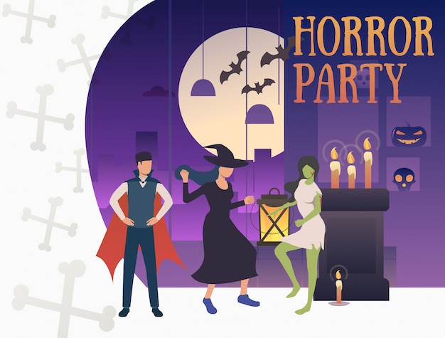 Banner festa horror con mostri esilaranti Vettore gratuito