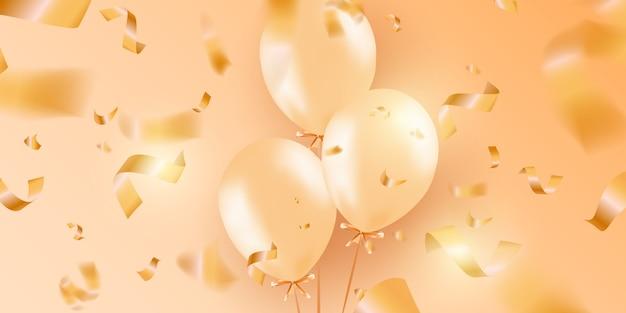 Banner festivo con palloncini d'oro elio. Vettore Premium