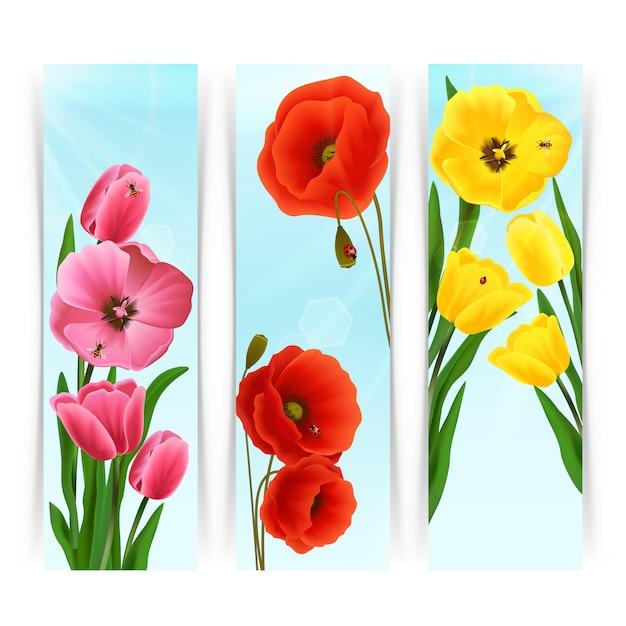 Banner floreali verticali Vettore gratuito